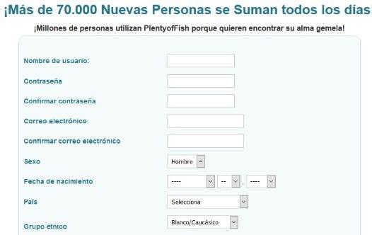 POF opiniones: formulario de registro gratuito. Nombre, contraseña, entre otros.