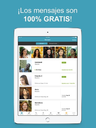 Aplicación móvil POF descargada en una tablet