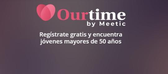 Invitación a registrarse en Ourtime Gratis. Página de citas para mayores de 50 años.