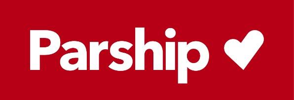 Logo de Parship. Fondo rojo y letras blancas.