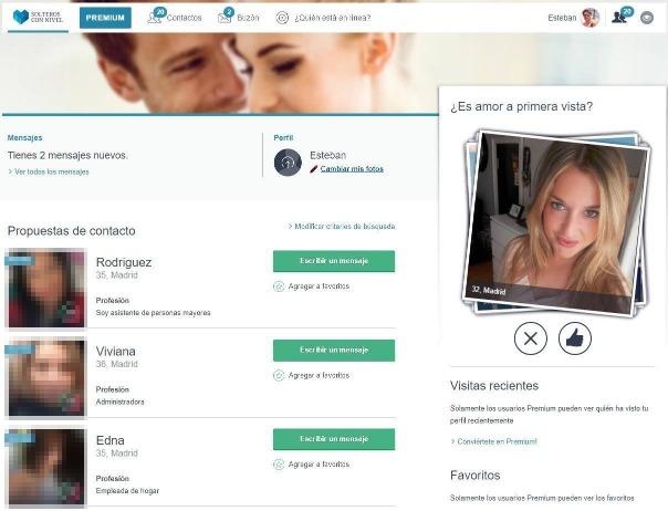Vista de un perfil de un usuario en la pantalla principal.