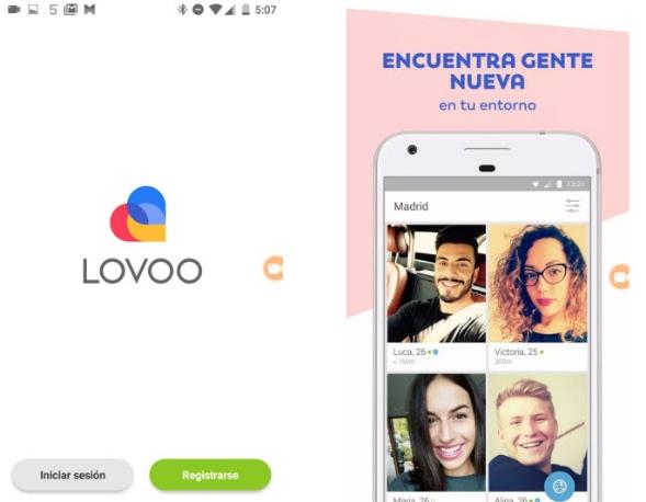 Logo de Lovoo y vista de algunos perfiles en el móvil