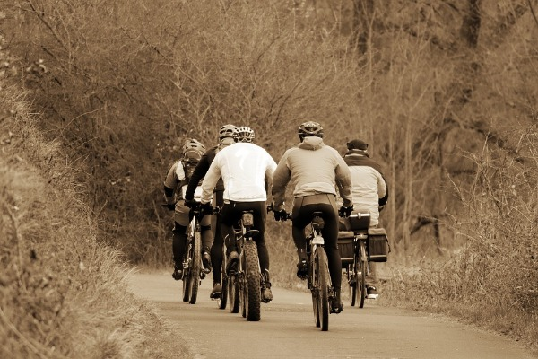 Grupo de ciclistas en una carretera angosta en medio del bosque